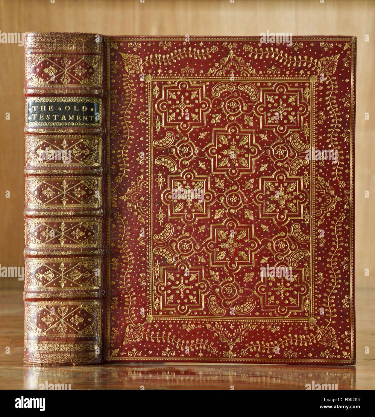 1712-13 bible with tooled red morocco binding, at Anglesey Abbey, Cambridgeshire. 17.I.16 - Stock Image