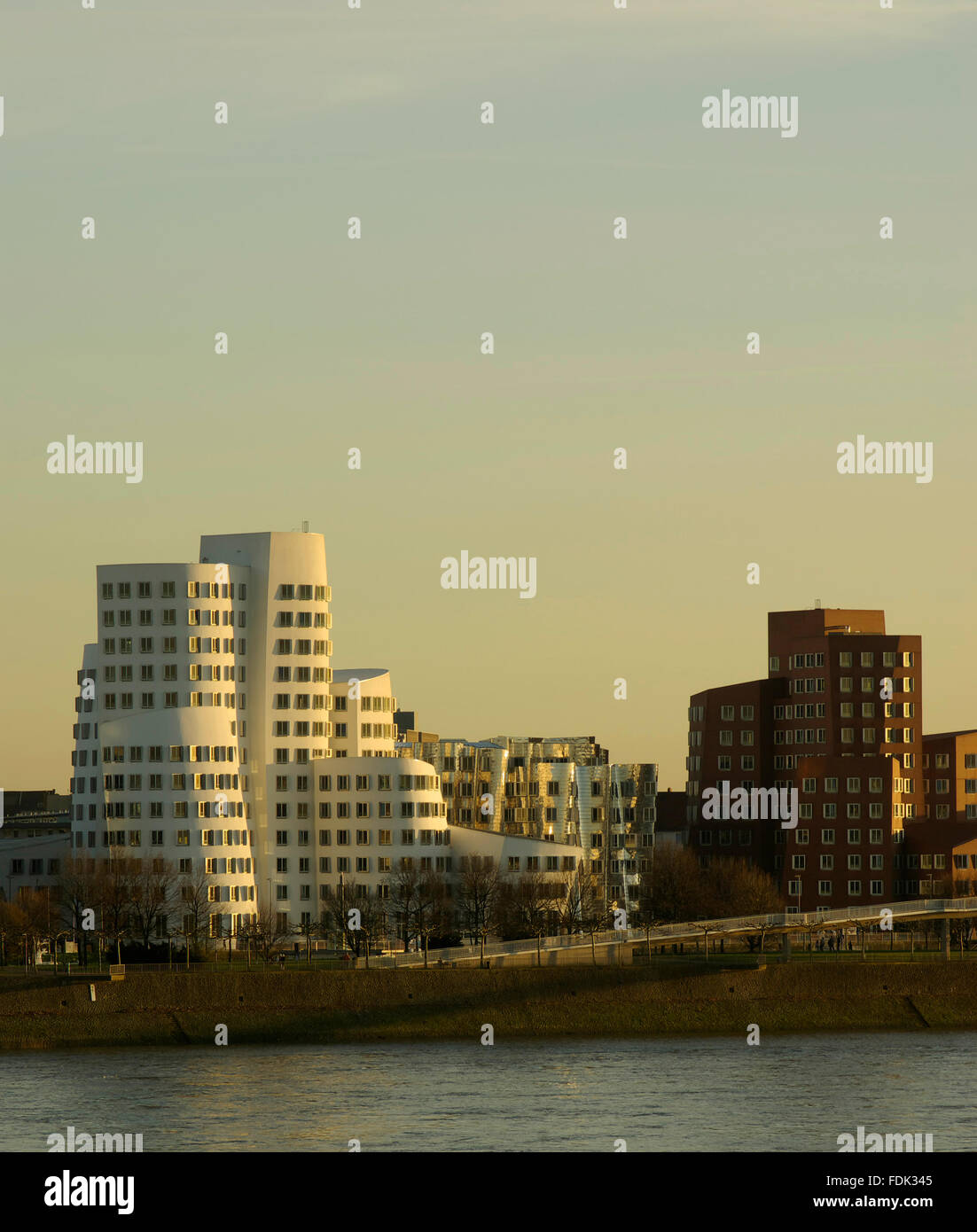 düsseldorf,rhine river,gehryhaus,landtag watersite - Stock Image