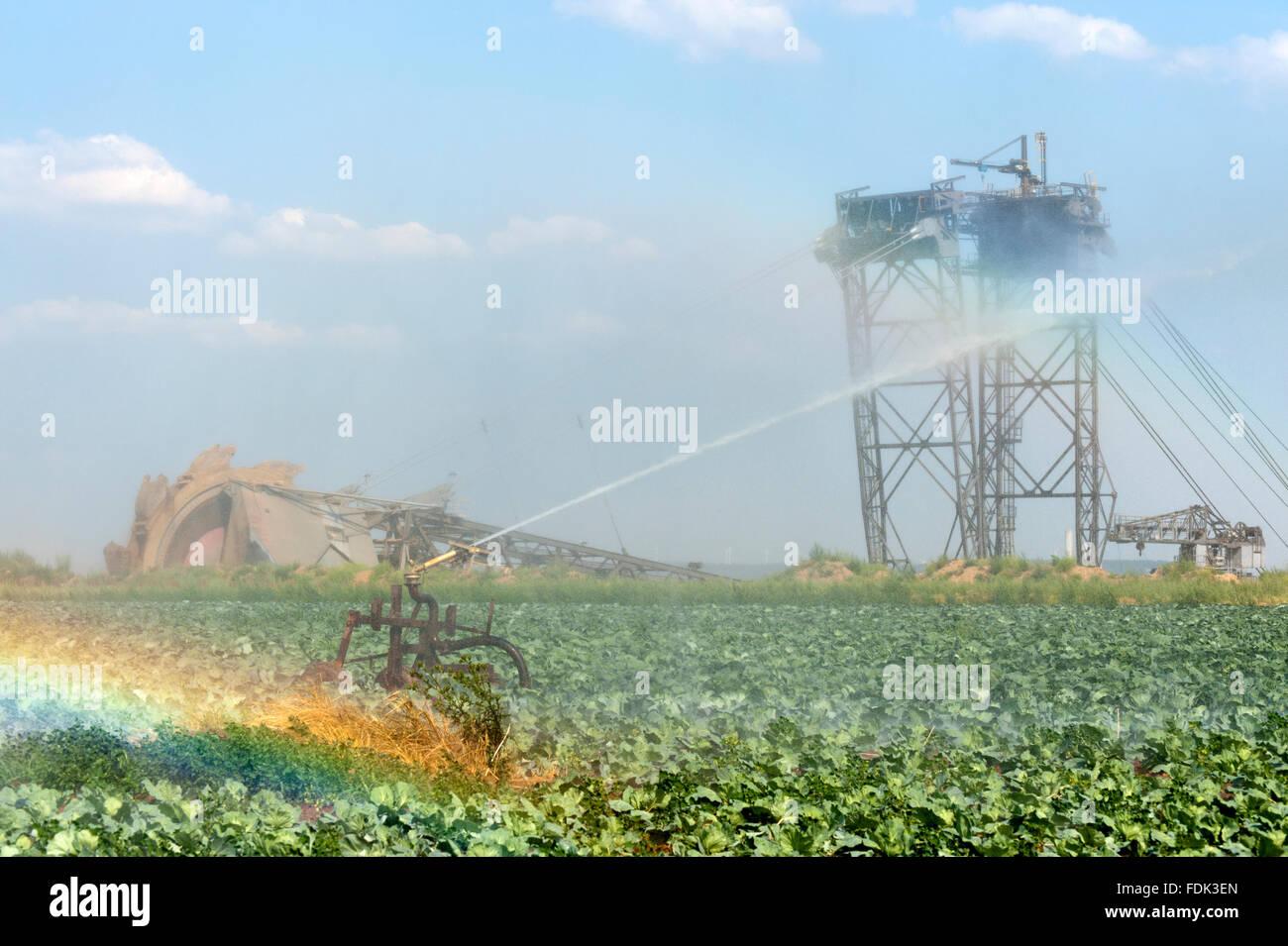 watering,opencast,cultural landscape,garzweiler,bucket excavator,pit mine - Stock Image