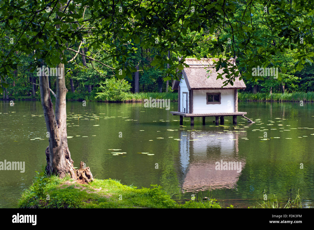 lake,duck house - Stock Image