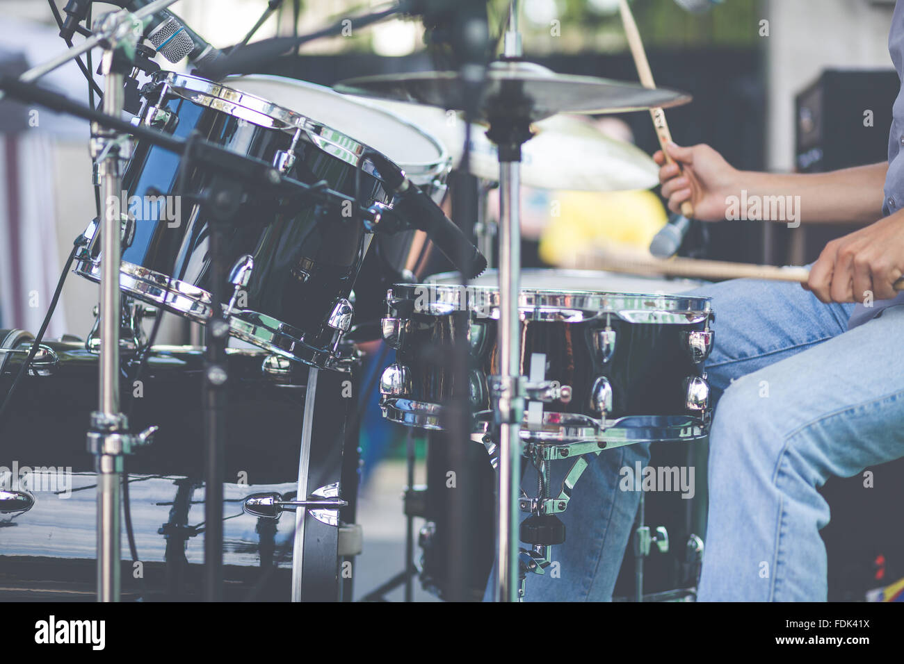 Close-up of a man playing drums Stock Photo