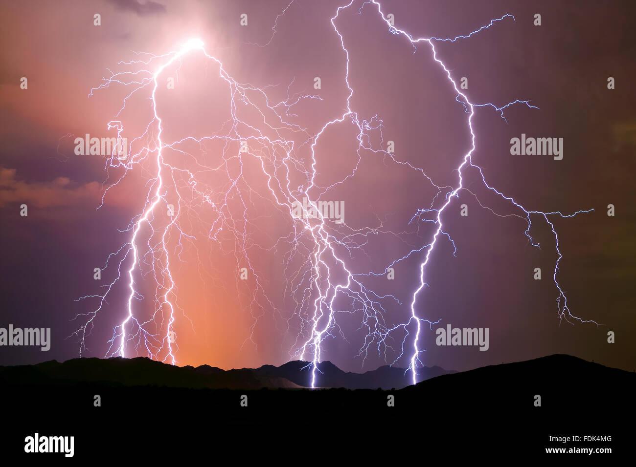 Lightning storm, Arlington, Arizona, United States Stock Photo