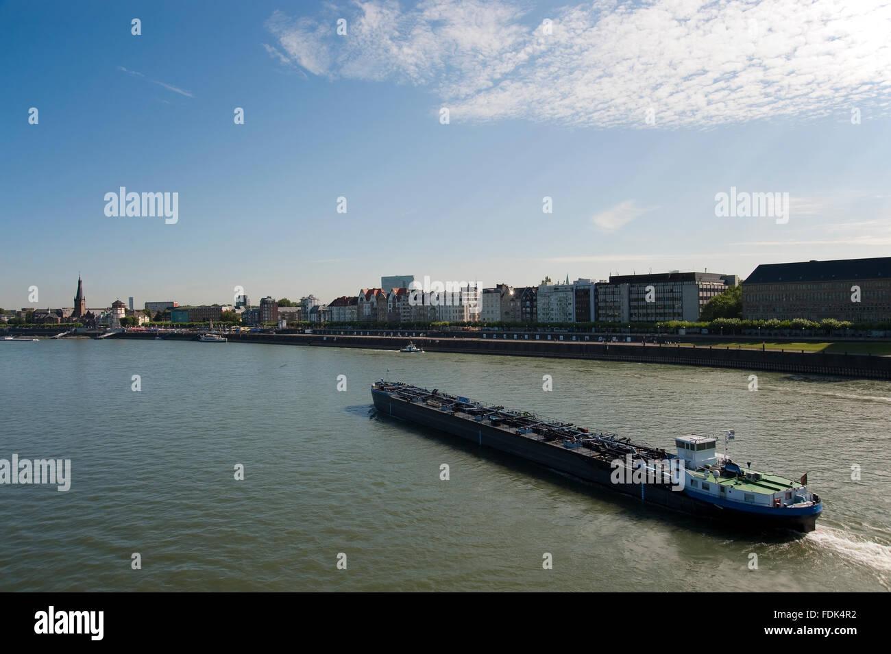 düsseldorf,rhine river,water transport - Stock Image