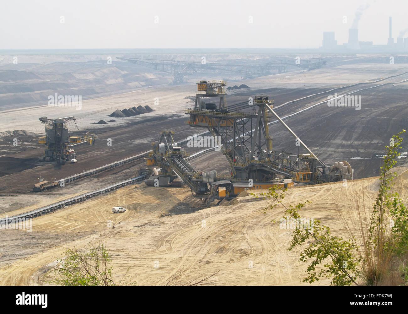 industrial landscape,opencast,nochten,conveyor bridge - Stock Image