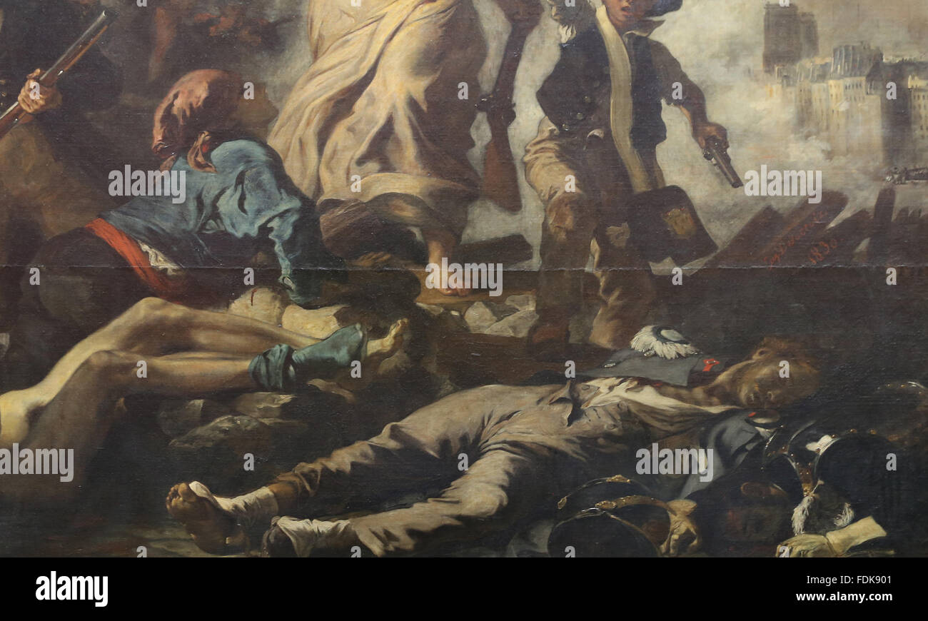 July 28, 1830. Liberty leading the people, 1831. By Eugene Delacroix (1798-1863). Detail. Louvre Museum. Paris. - Stock Image