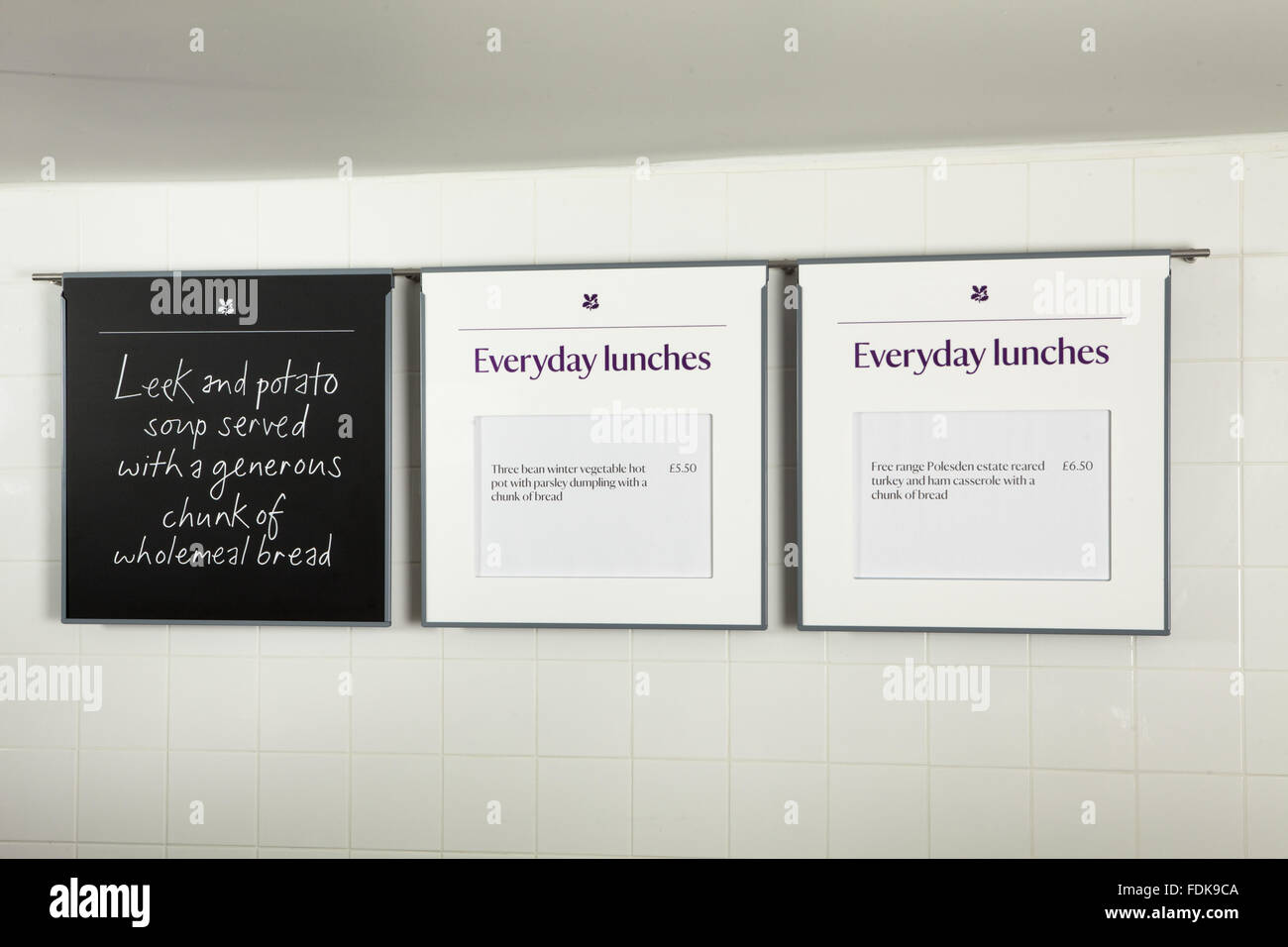 Lunch menus at Polesden Lacey restaurant, Surrey. - Stock Image