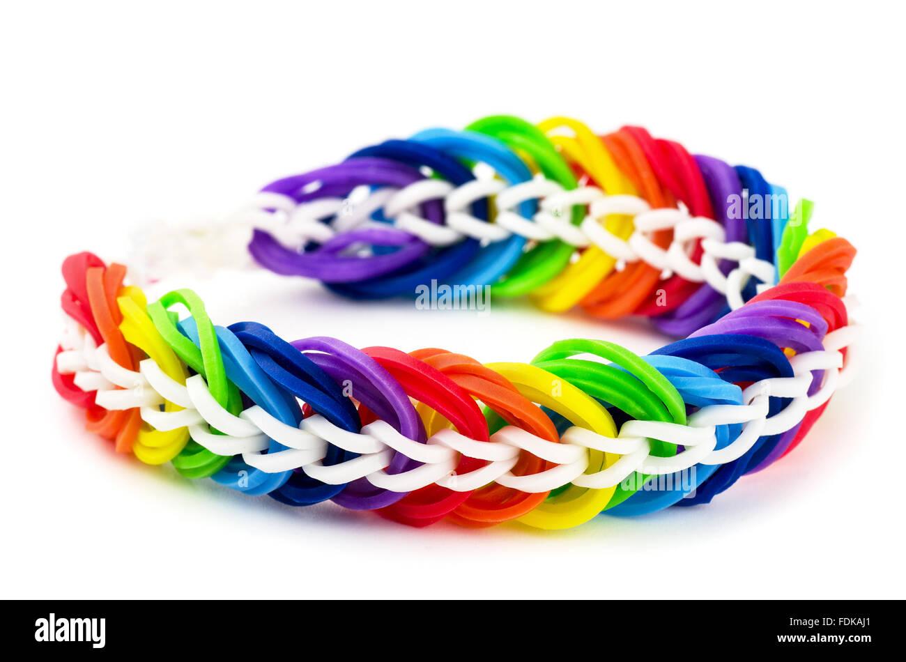Handmade bracelet on a white background - Stock Image