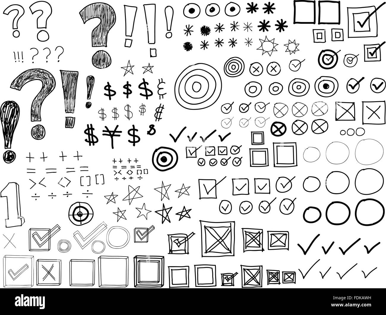 Hand-drawn Doodles -Asterisks, Bullets, Check marks, Punctuation marks (Vector) - Stock Image