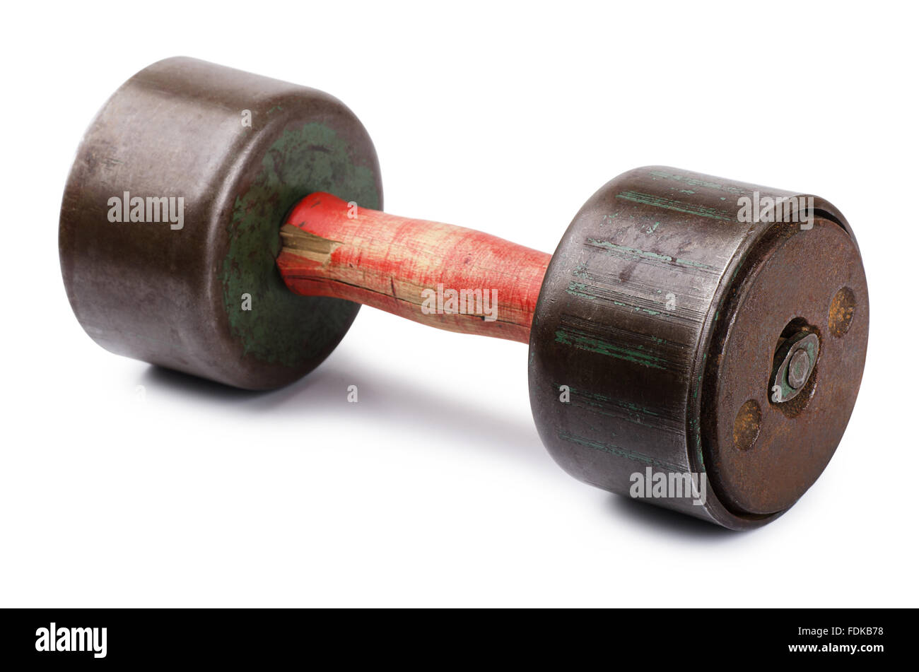 Old dumbbell on a white background - Stock Image