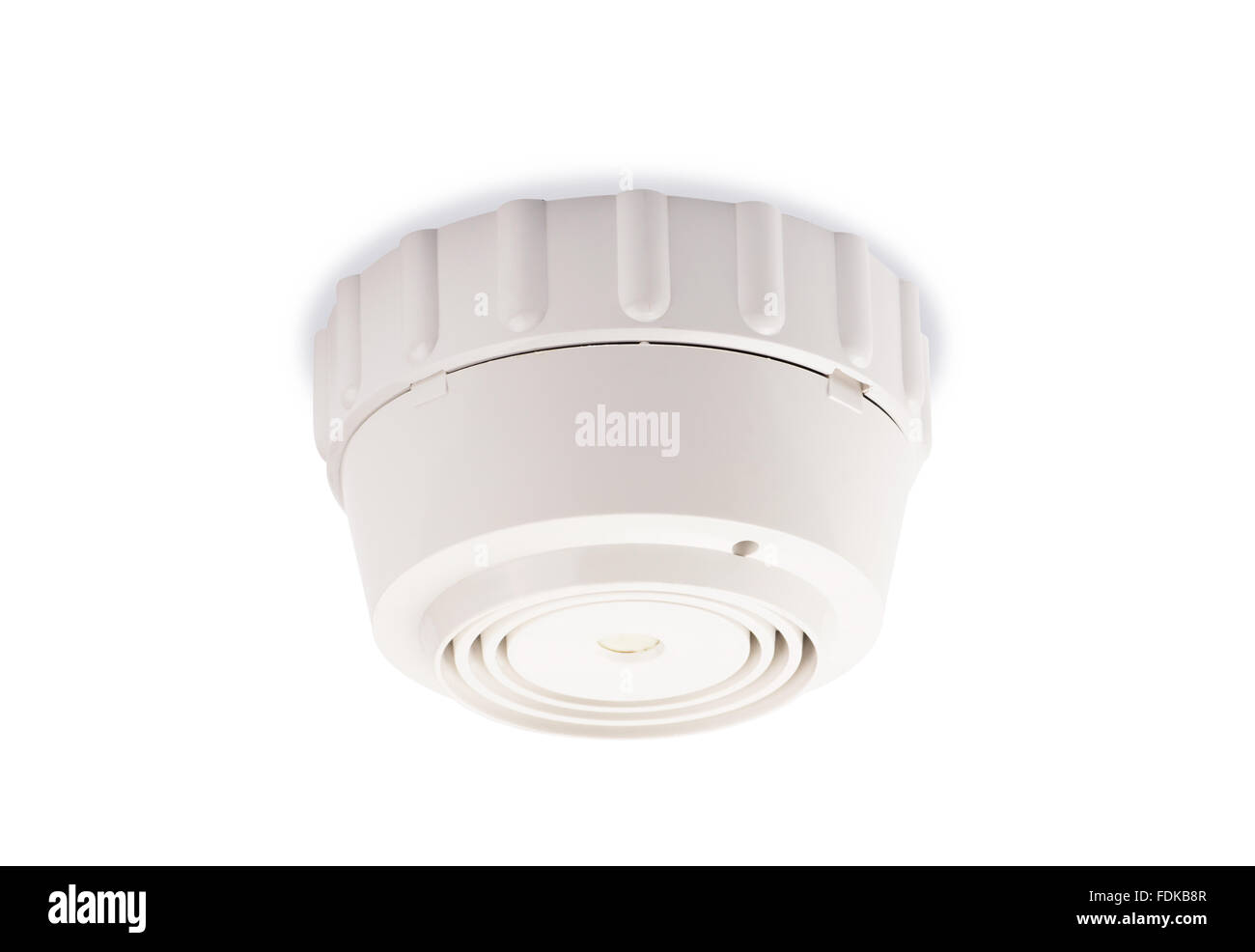 Smoke detector on a white background - Stock Image