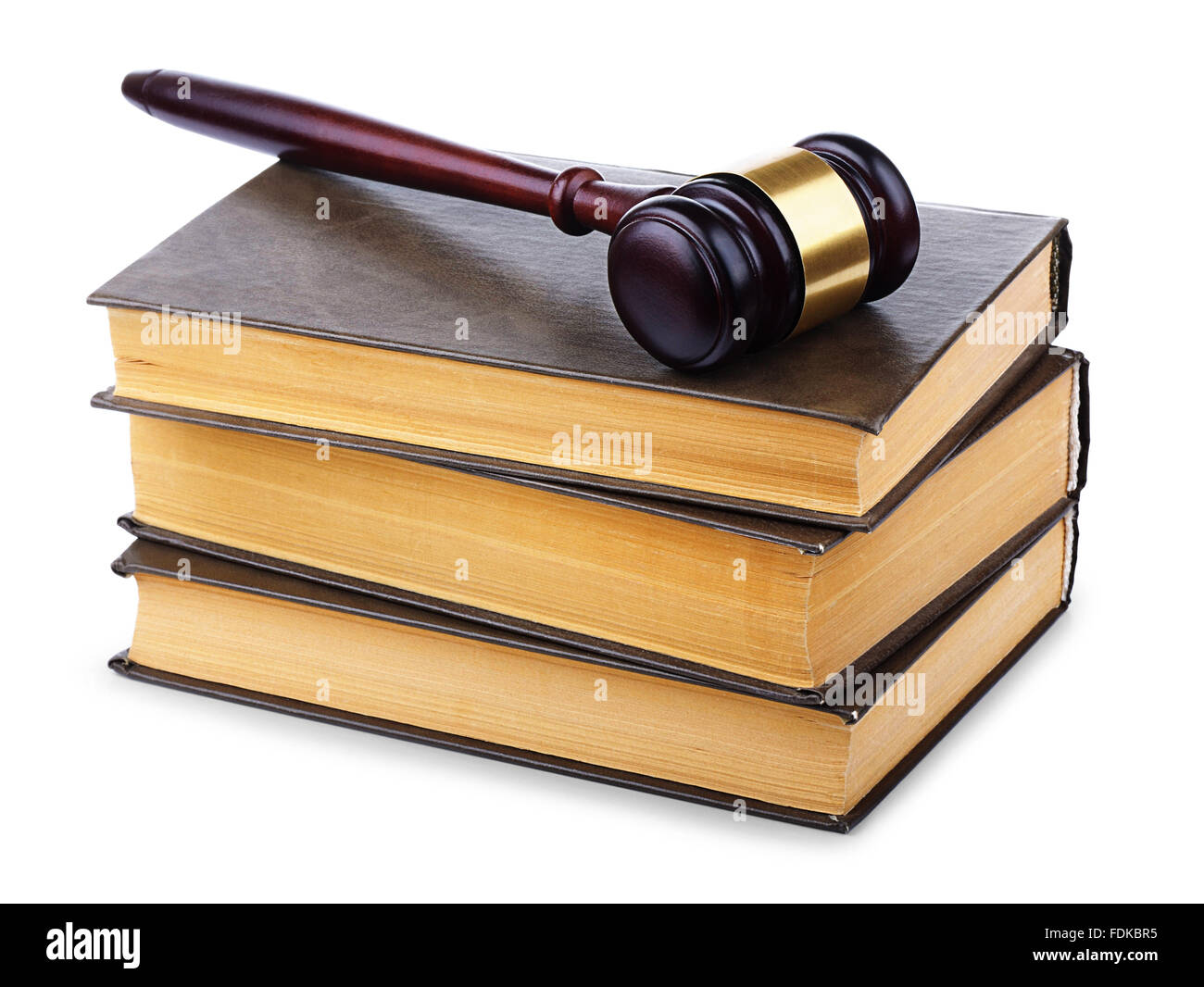 Wooden gavel and old law books on a white background - Stock Image