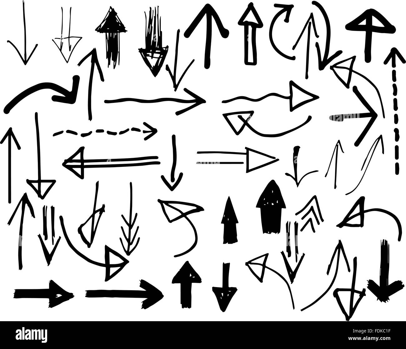 Hand-drawn vector arrows in different styles - Stock Image