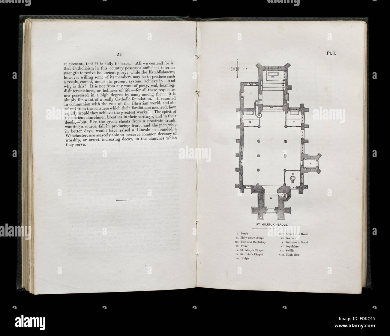 A.W.N. Pugin, The Present State of Ecclesiastical Architecture in England (London, 1843), at Chirk Castle, Wrexham. - Stock Image