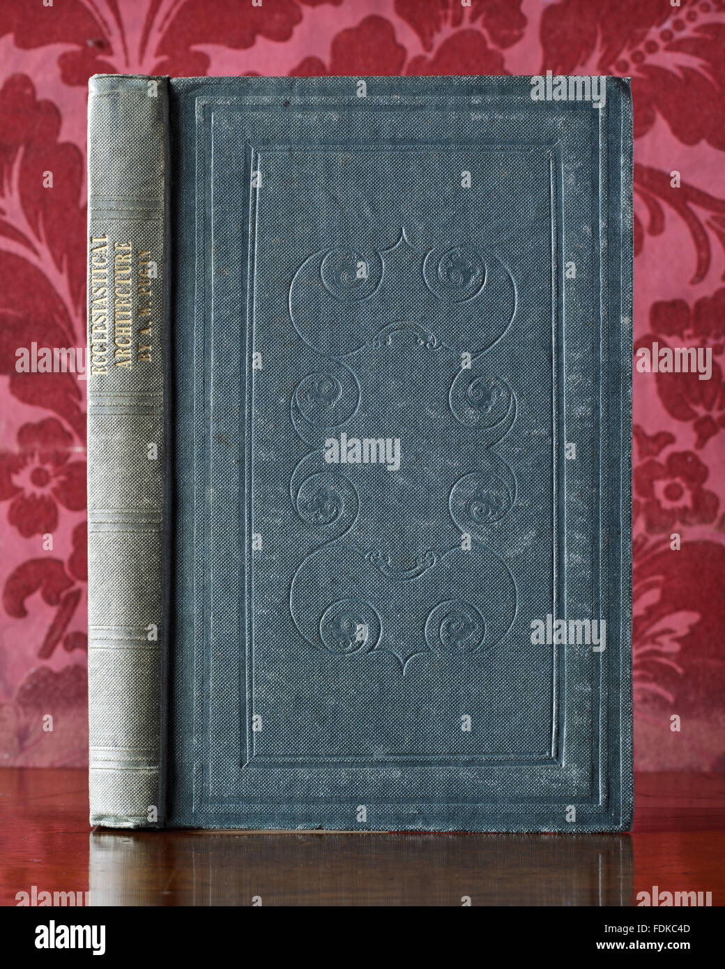 Binding of A.W.N. Pugin, The Present State of Ecclesiastical Architecture in England (London, 1843), at Chirk Castle, - Stock Image