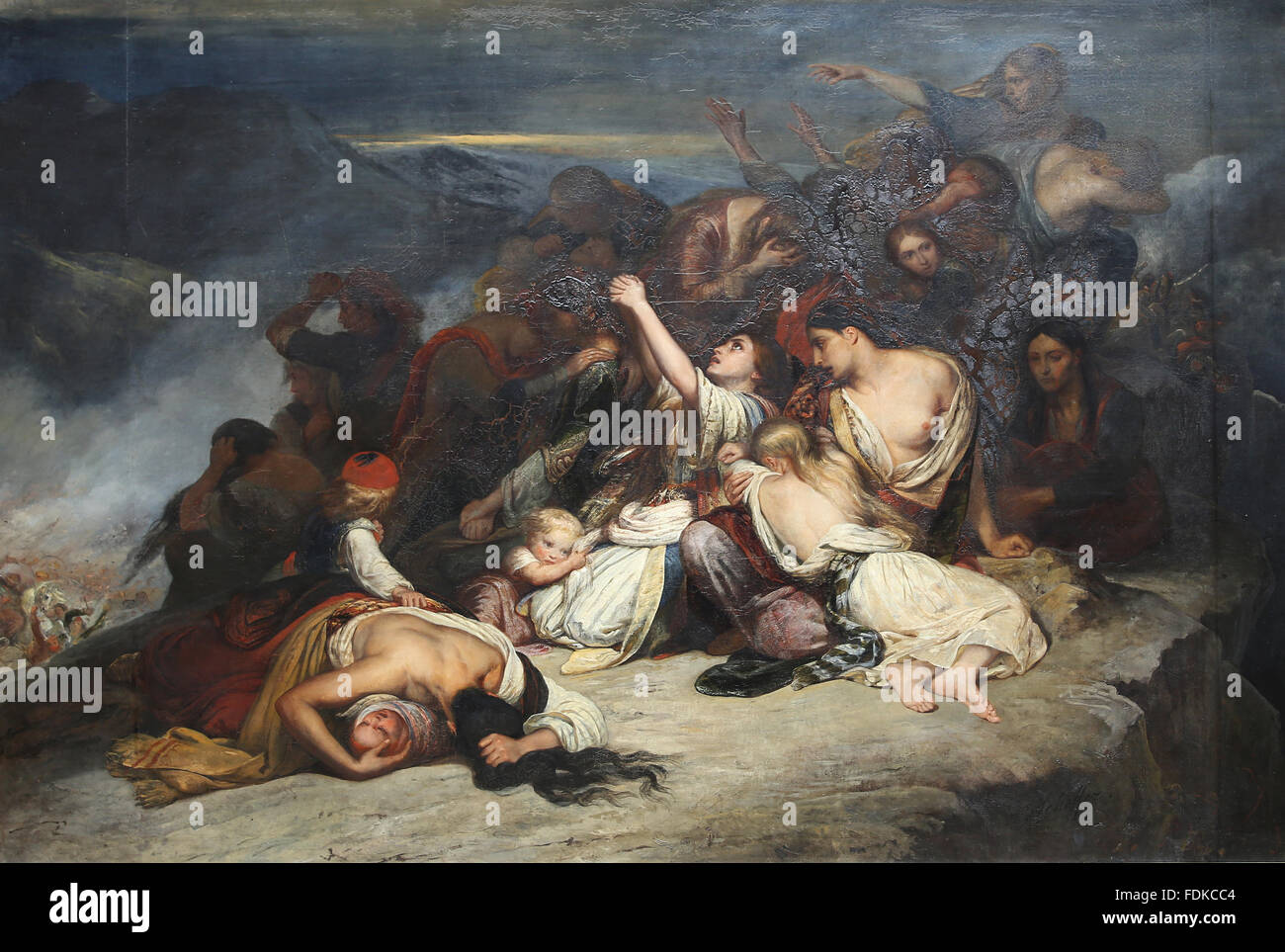 By Ary Scheffer (1795-1858). Heroic suicide of Souliote women. Souliote  wars, 1803.