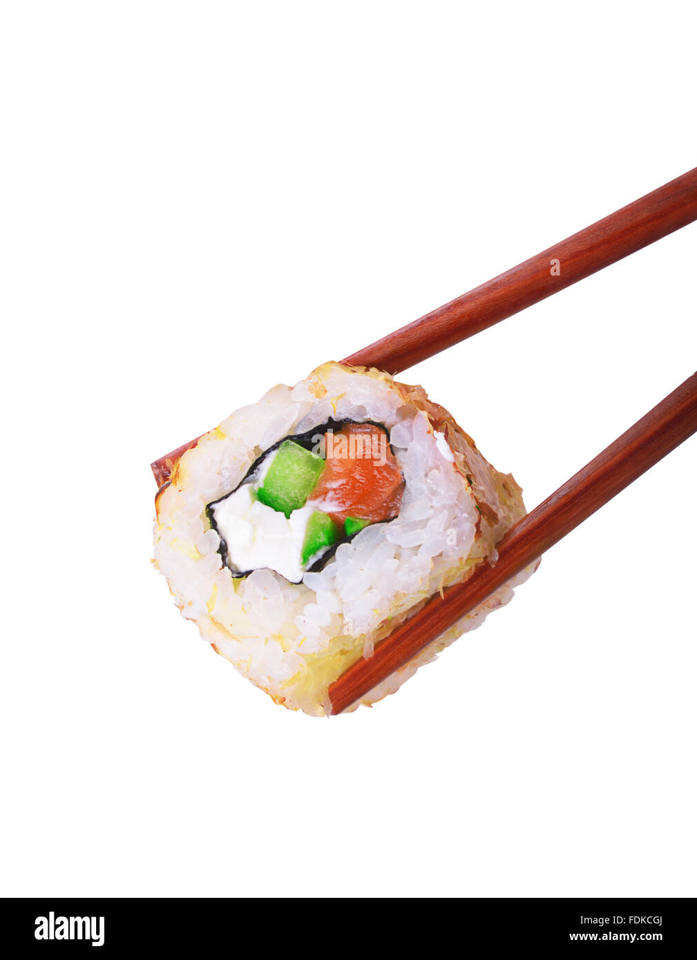 Sushi roll with chopsticks isolated over white background - Stock Image