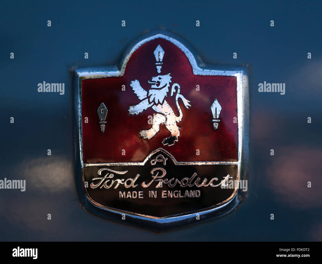 Ford Product (MADE IN ENGLAND) metal car badge - Stock Image