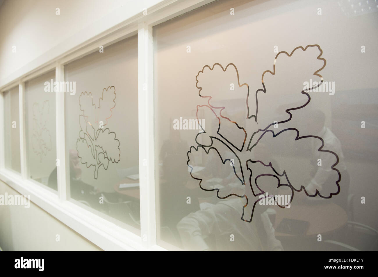 The logo on a glass panel at the National Trust Membership Department at Warrington. - Stock Image