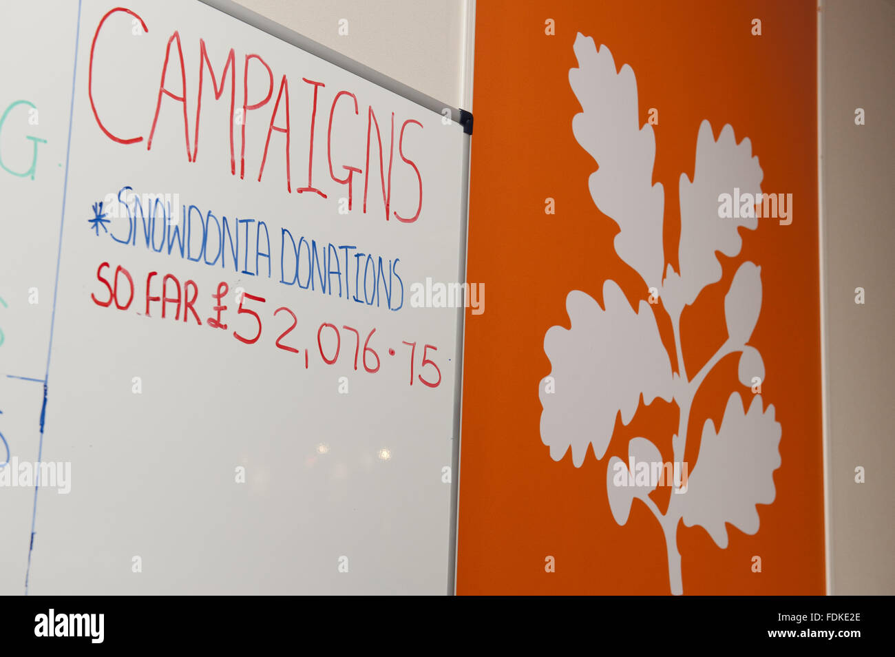 Campaigns board and logo at the National Trust Membership Department at Warrington. - Stock Image