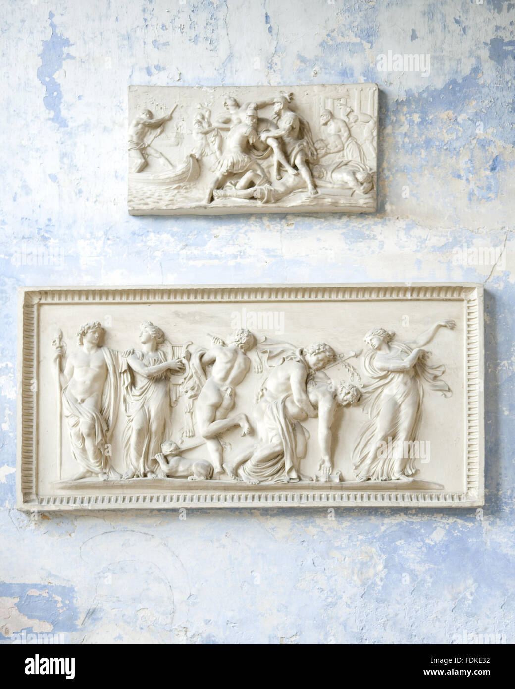 Detail of plaster reliefs in the Orangery at Knole, Kent. - Stock Image
