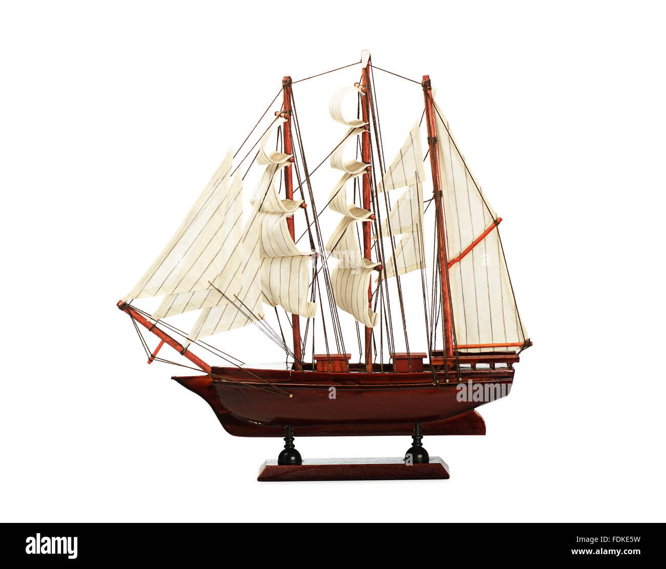 Ship model isolated on white background - Stock Image