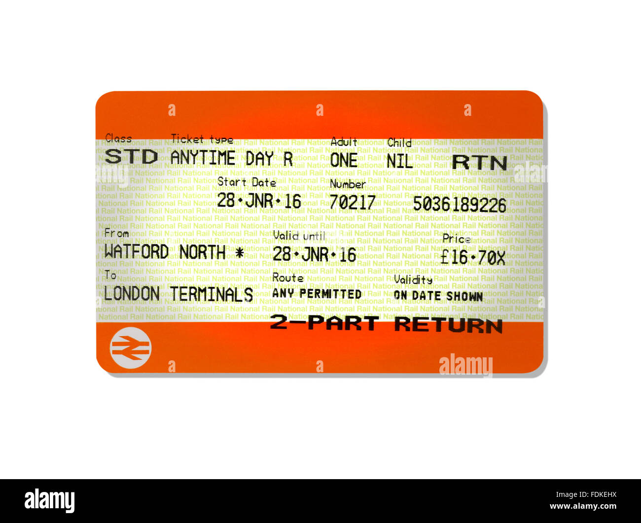 A return train ticket - Stock Image