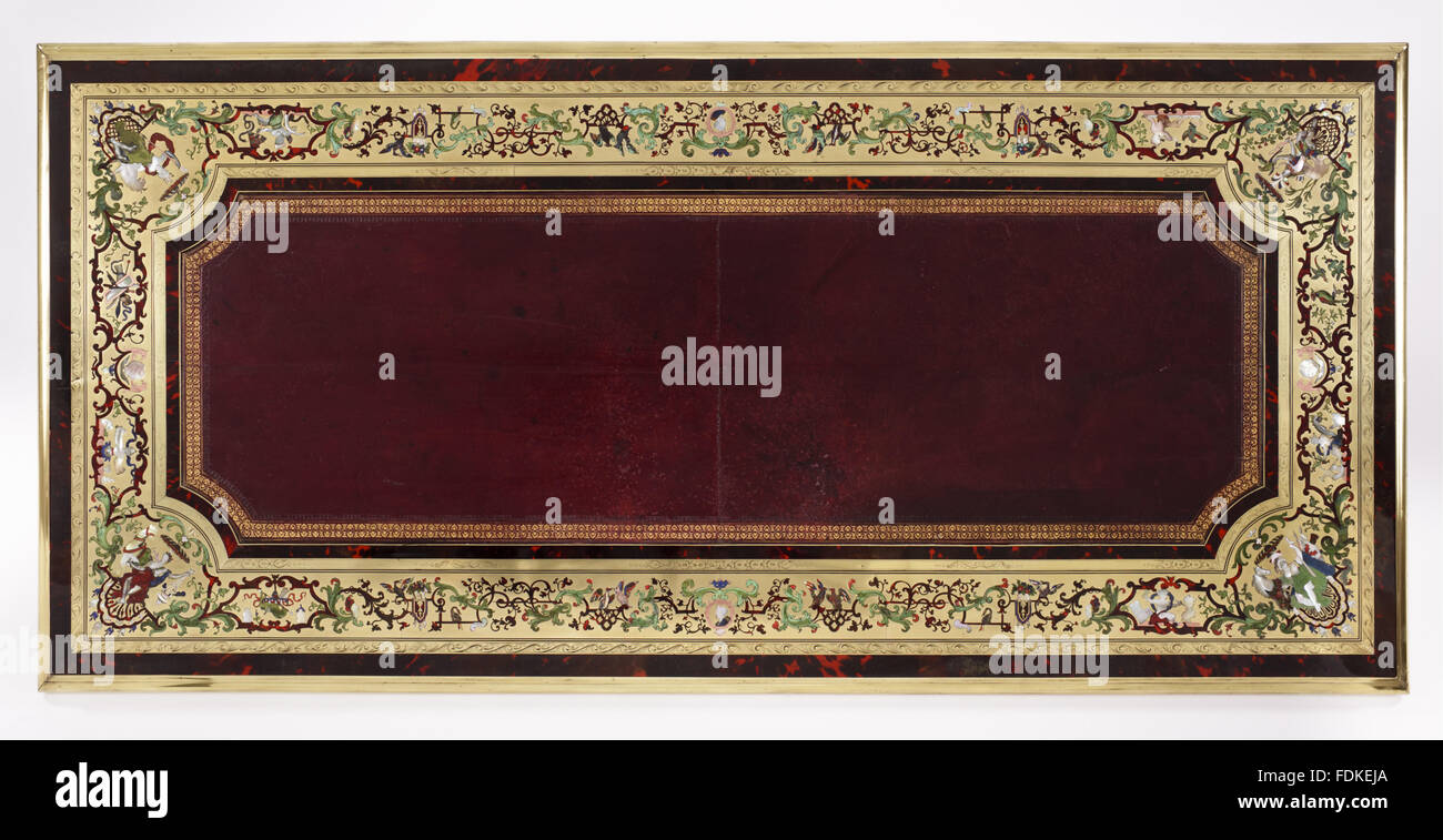 The Saltram bureau or writing table: the tooled leather writing surface with red tortoiseshell, ebony and Boulle - Stock Image