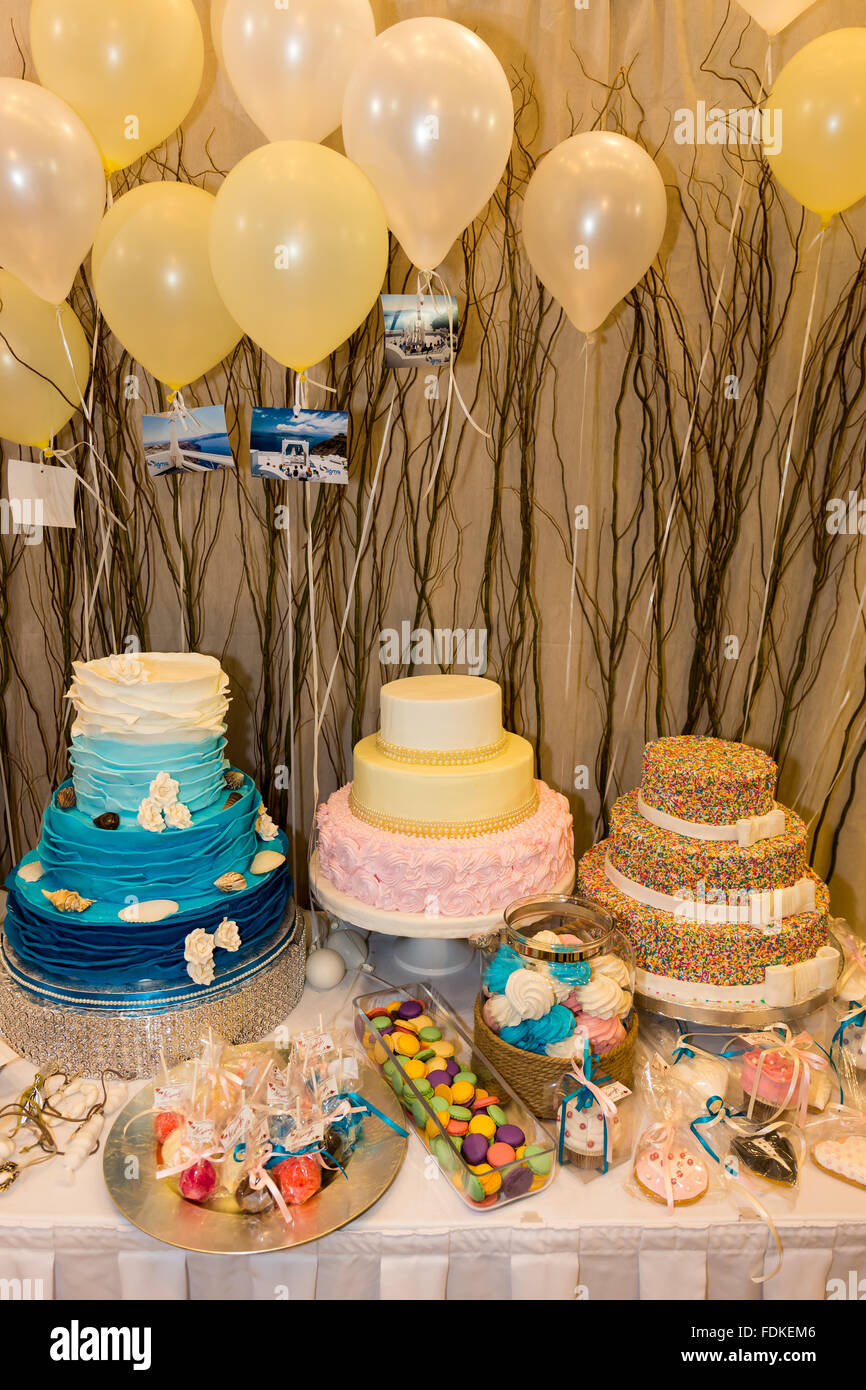 christening decorated table - Stock Image