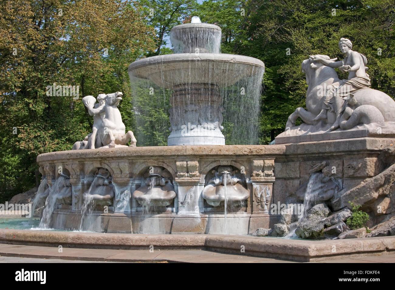 fountain,munich,wittelsbacherbrunnen - Stock Image