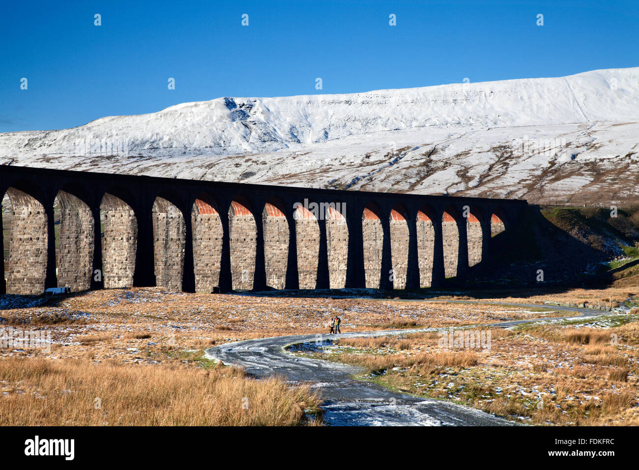 Ribblehead Viaduct and Whernside in Winter Ribblehead Yorkshire Dales England - Stock Image