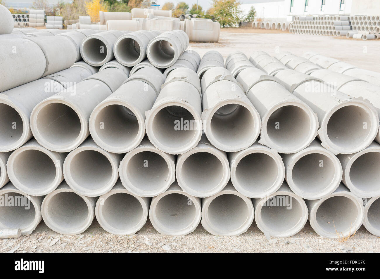 Concrete drainage pipes for industrial building construction. - Stock Image & Industrial Concrete Drainage Pipes Stacked Stock Photos u0026 Industrial ...