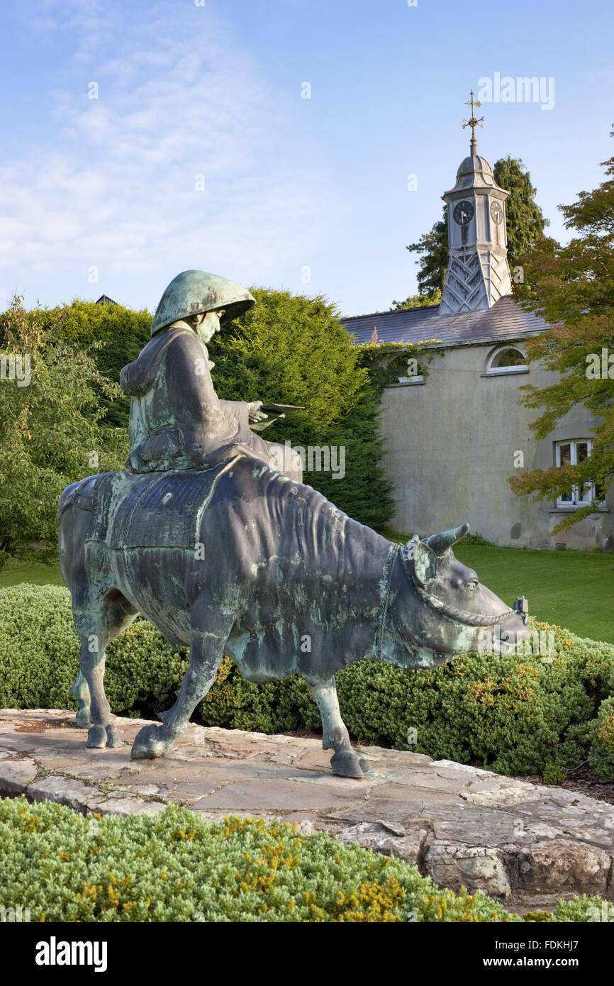 Bronze sage on bull statue to the south of the house at Dyffryn Gardens, Vale of Glamorgan. Variously called the - Stock Image