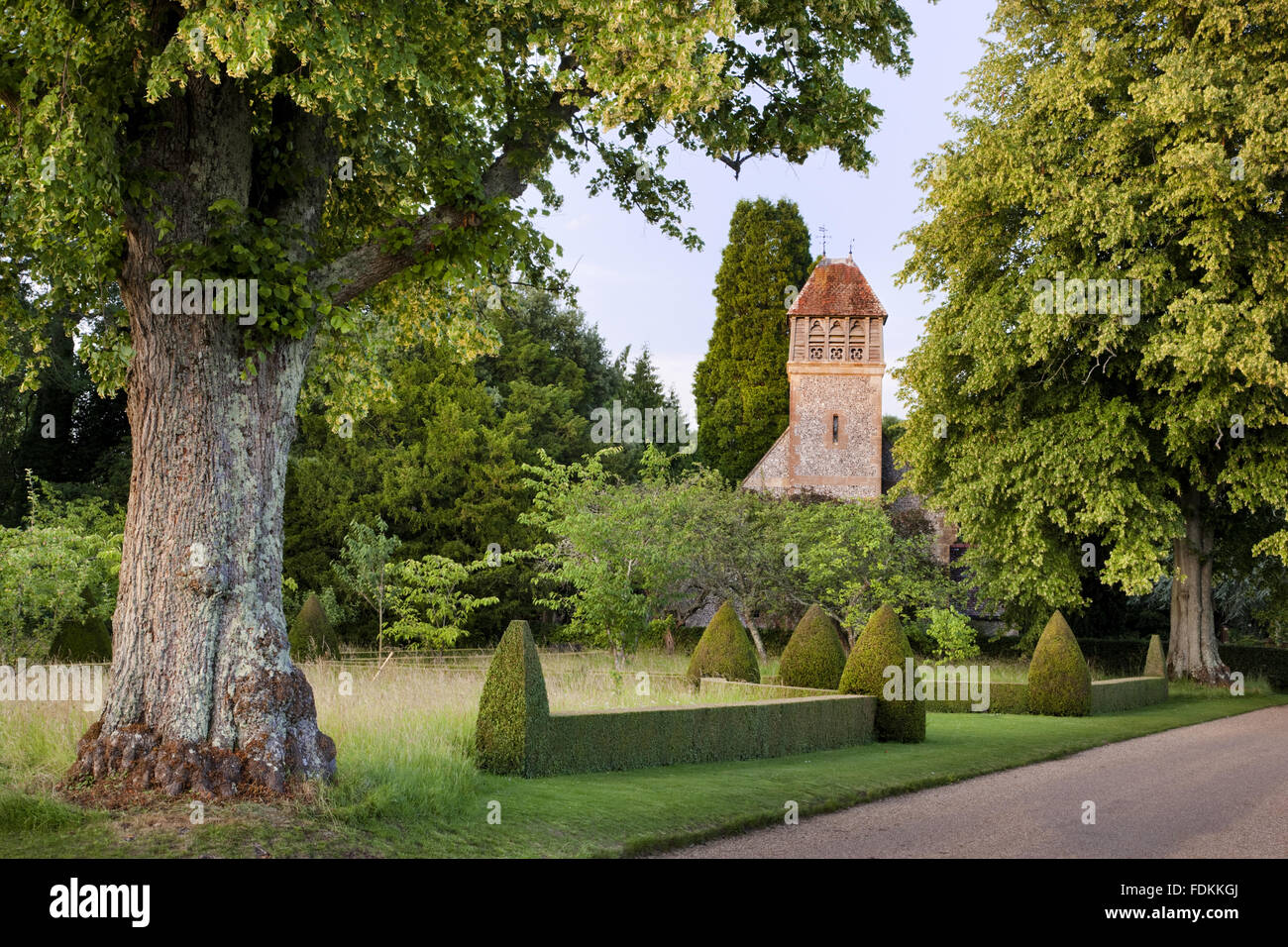 All Saints church (Not National Trust) at Hinton Ampner, Hampshire. - Stock Image