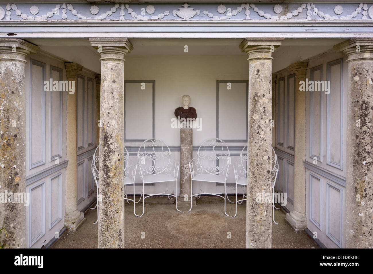 View of the pedimented temple at Hinton Ampner, Hampshire. - Stock Image