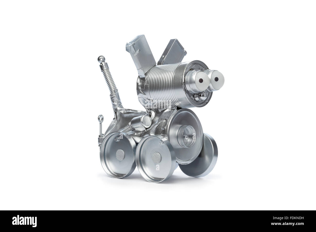 Tin robot dog on white background - Stock Image