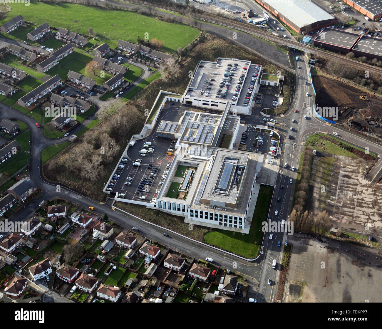 aerial view of Leeds District Police HQ Headquarters, Millshaw, Leeds, UK - Stock Image