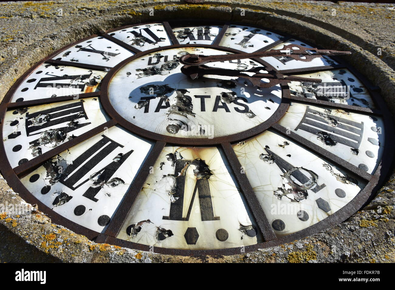 Clock, Eglise de Beaumarchés, Gers (32) France - Stock Image