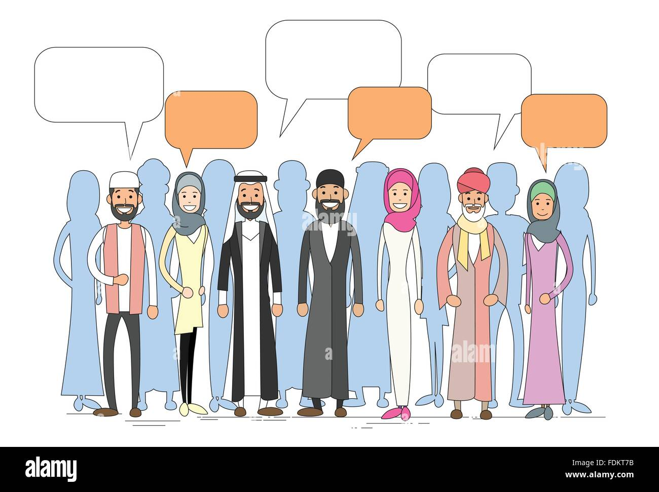 Muslim People Group Talking Discussing Chat Communication Social Network Man and Woman Traditional Clothes - Stock Image