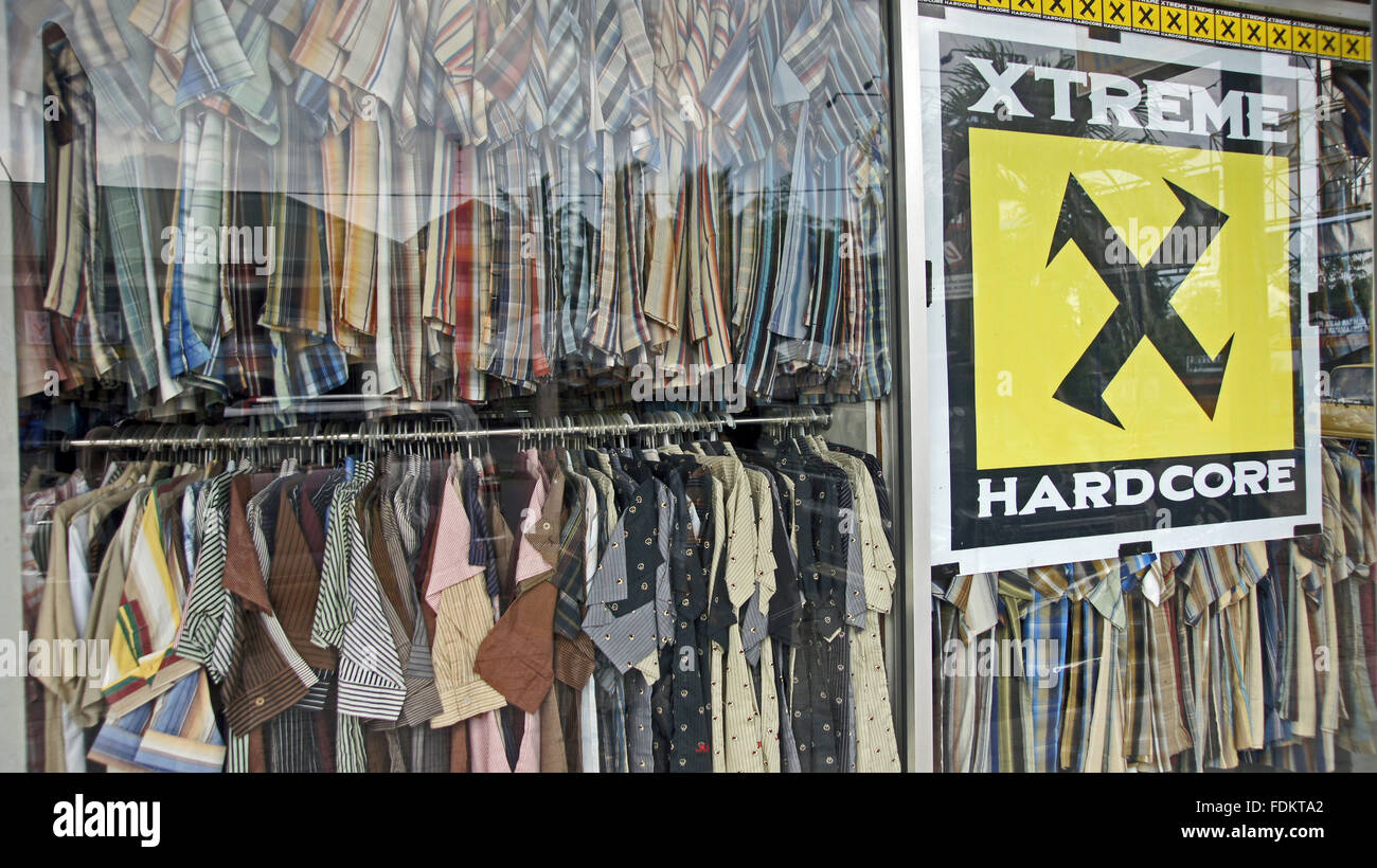 Indonesian men's fashion store window display - Stock Image