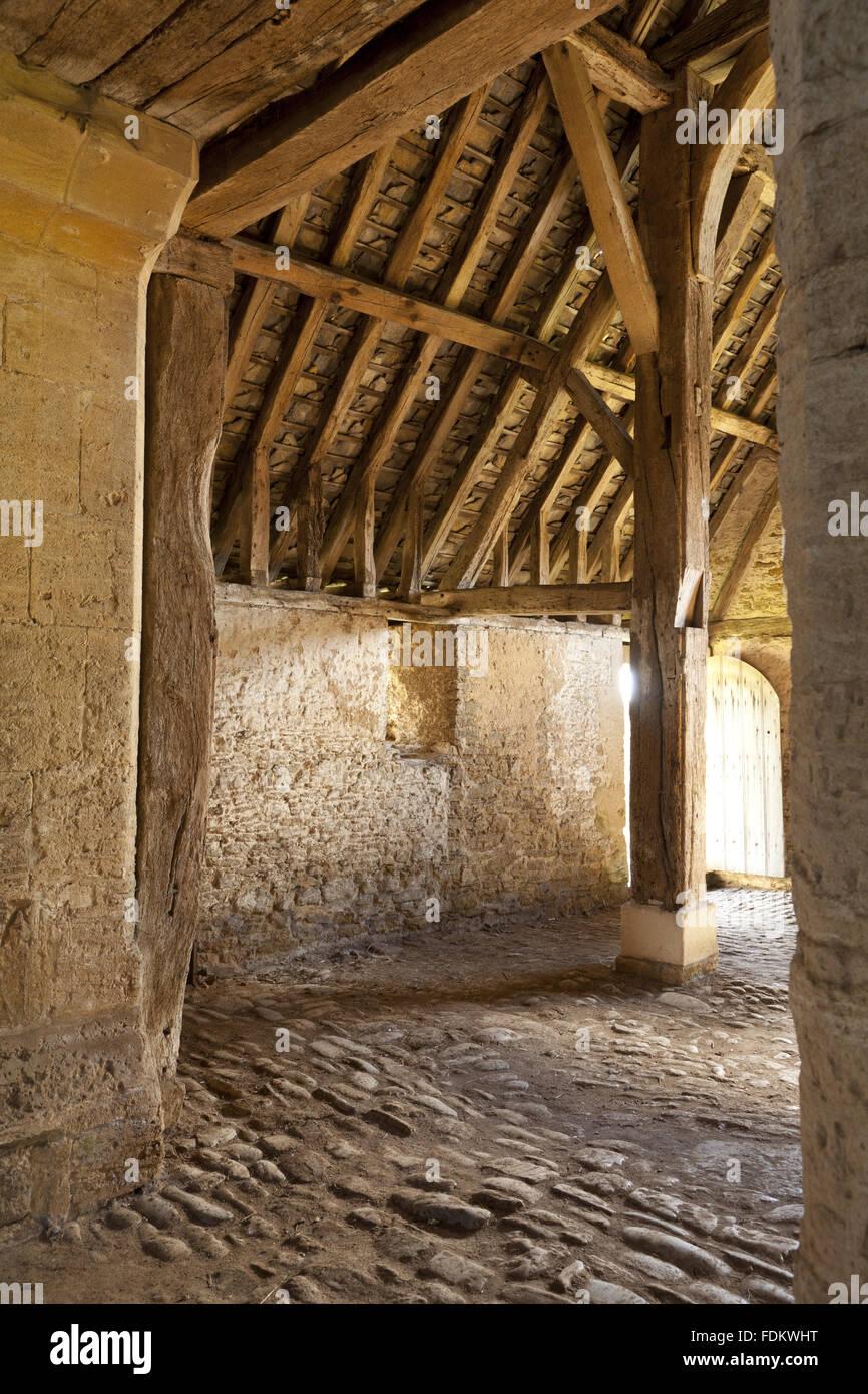 Interior of the thirteenth-century Great Coxwell Barn, Oxfordshire. Stock Photo