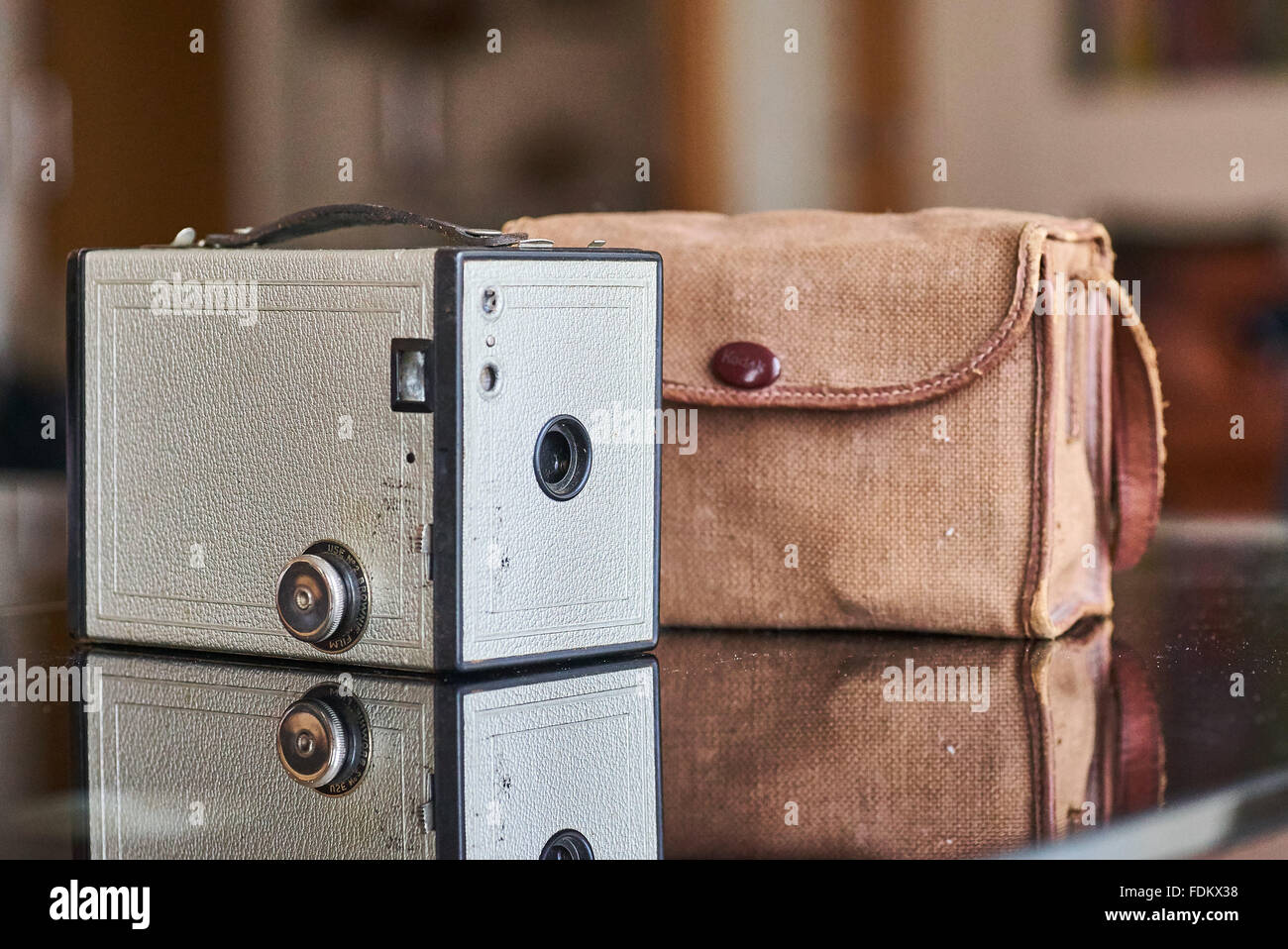 Vintage Box Brownie Camera and Case - Stock Image