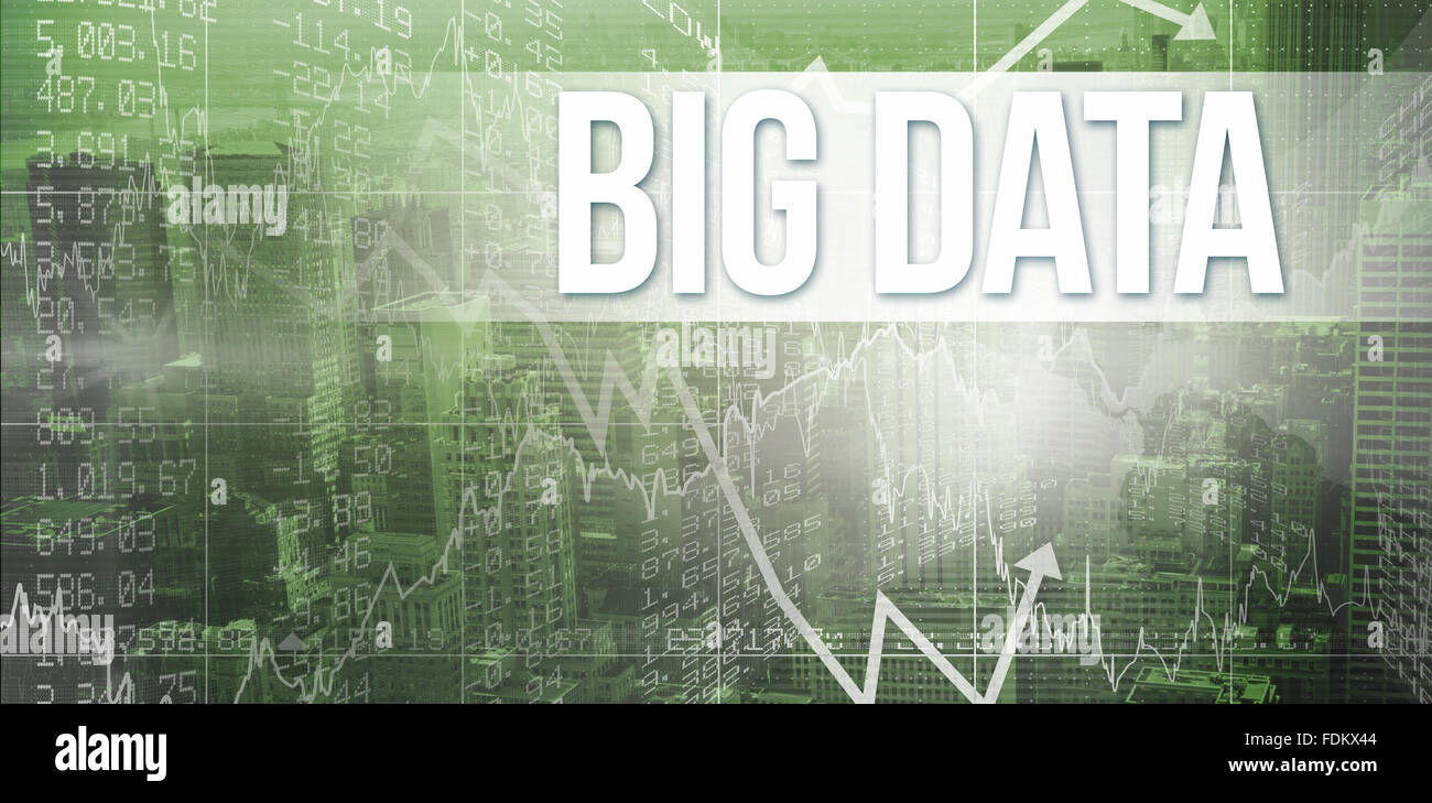 Big data against view of cityscape - Stock Image