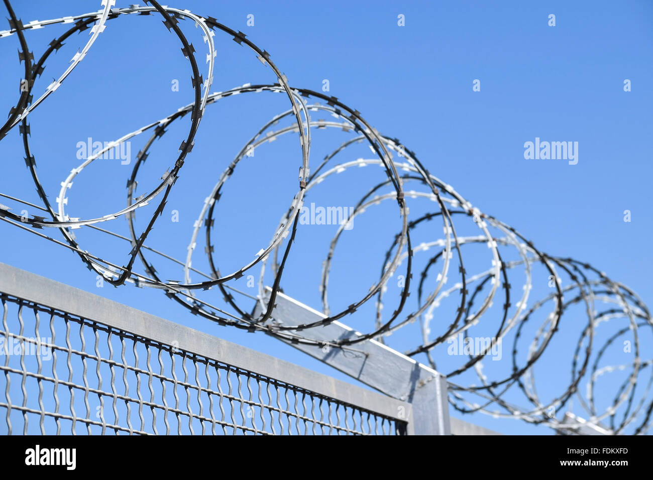 Barbed Wire Fence Side Angle Stock Photos & Barbed Wire Fence Side ...