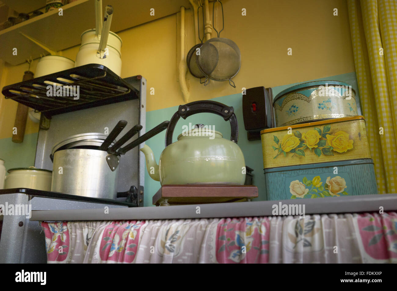 Kettle And Tins In The Kitchen At Mendips The Childhood Home Of John Stock Photo Alamy