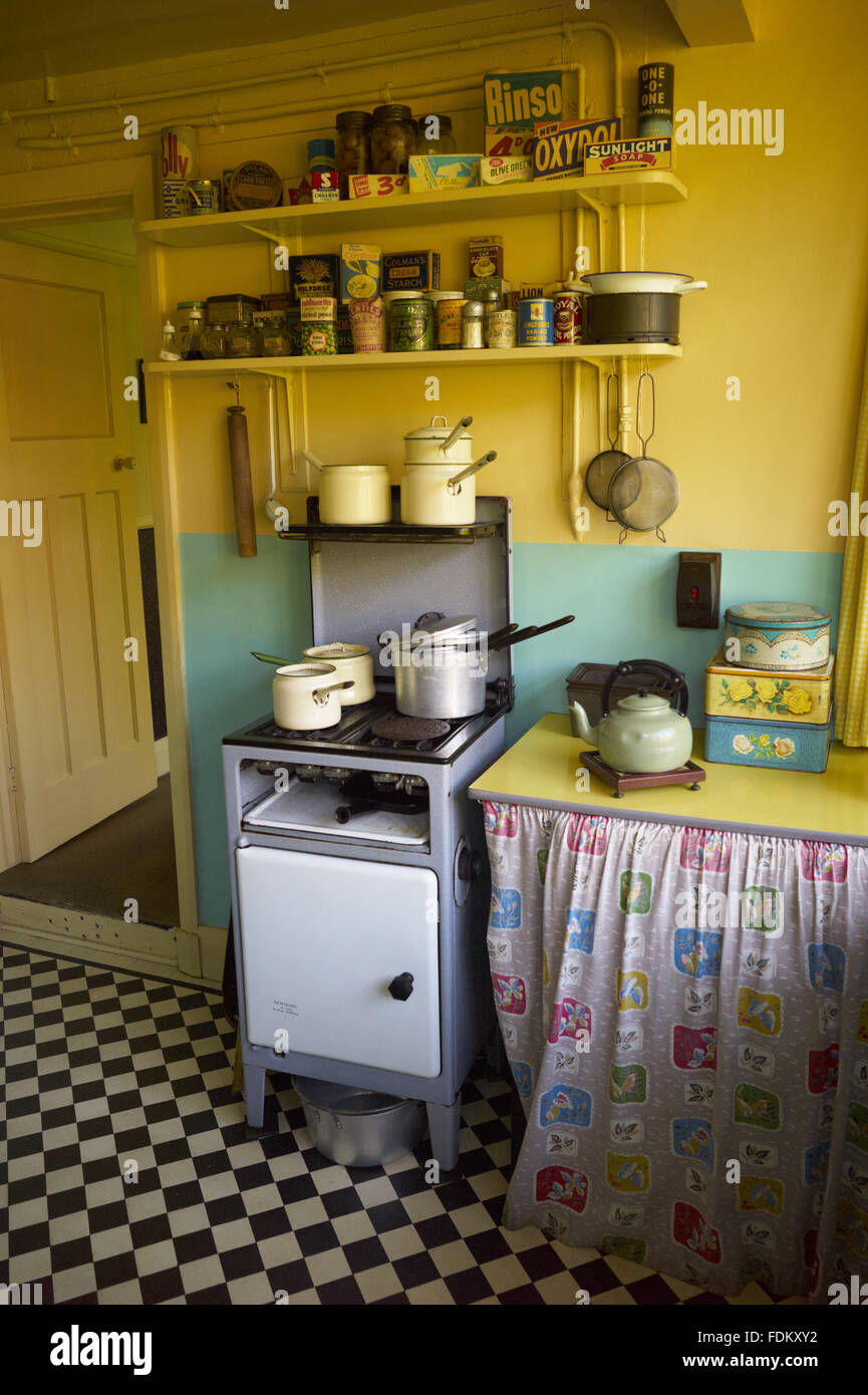 Corner of the Kitchen at Mendips, the childhood home of John Lennon, in Woolton, Liverpool. - Stock Image