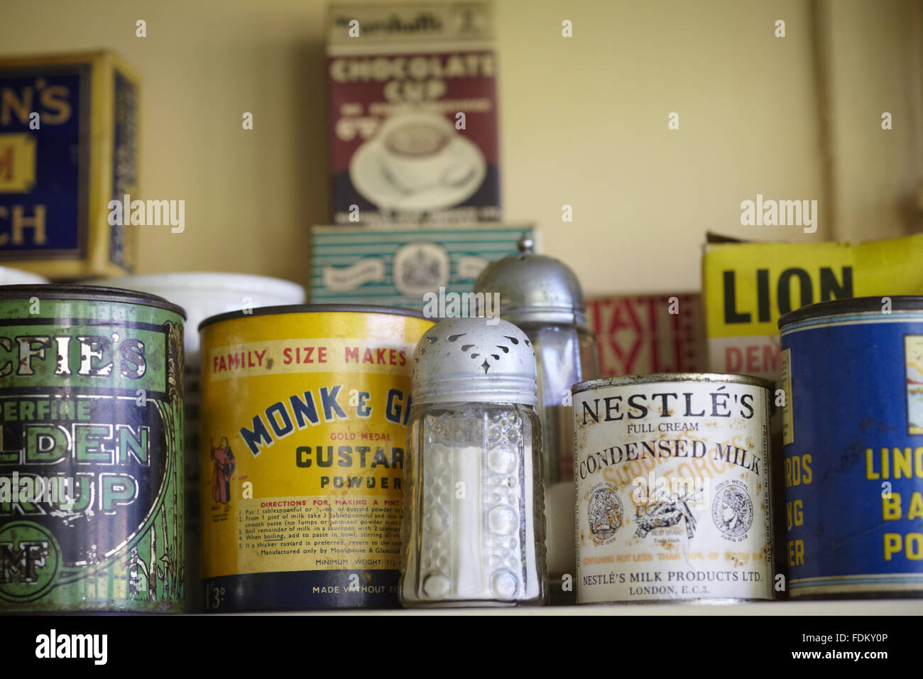 Condiments and provisions in the Kitchen at Mendips, the childhood home of John Lennon, in Woolton, Liverpool. - Stock Image