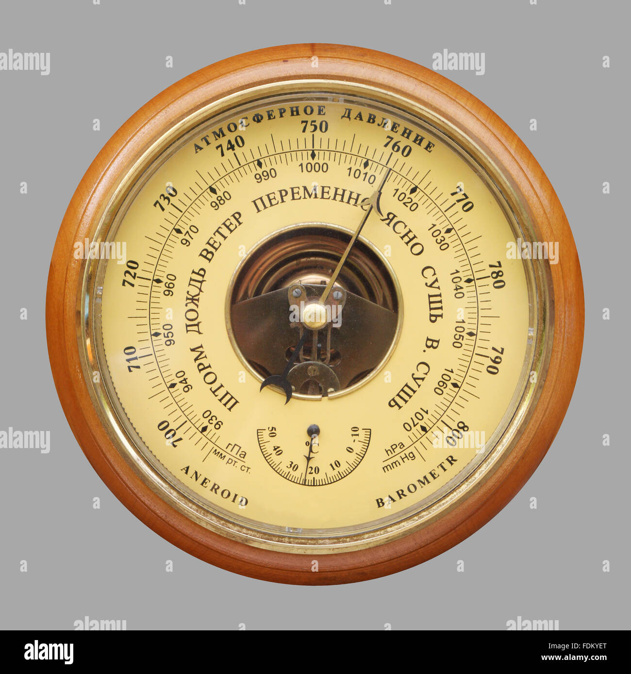 Pressure Temperature Gauge Stock Photos Barometer Signal Conditioner Old Russian Image