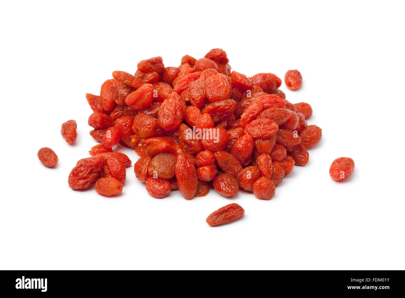 Heap of soaked Goji berries on white background - Stock Image