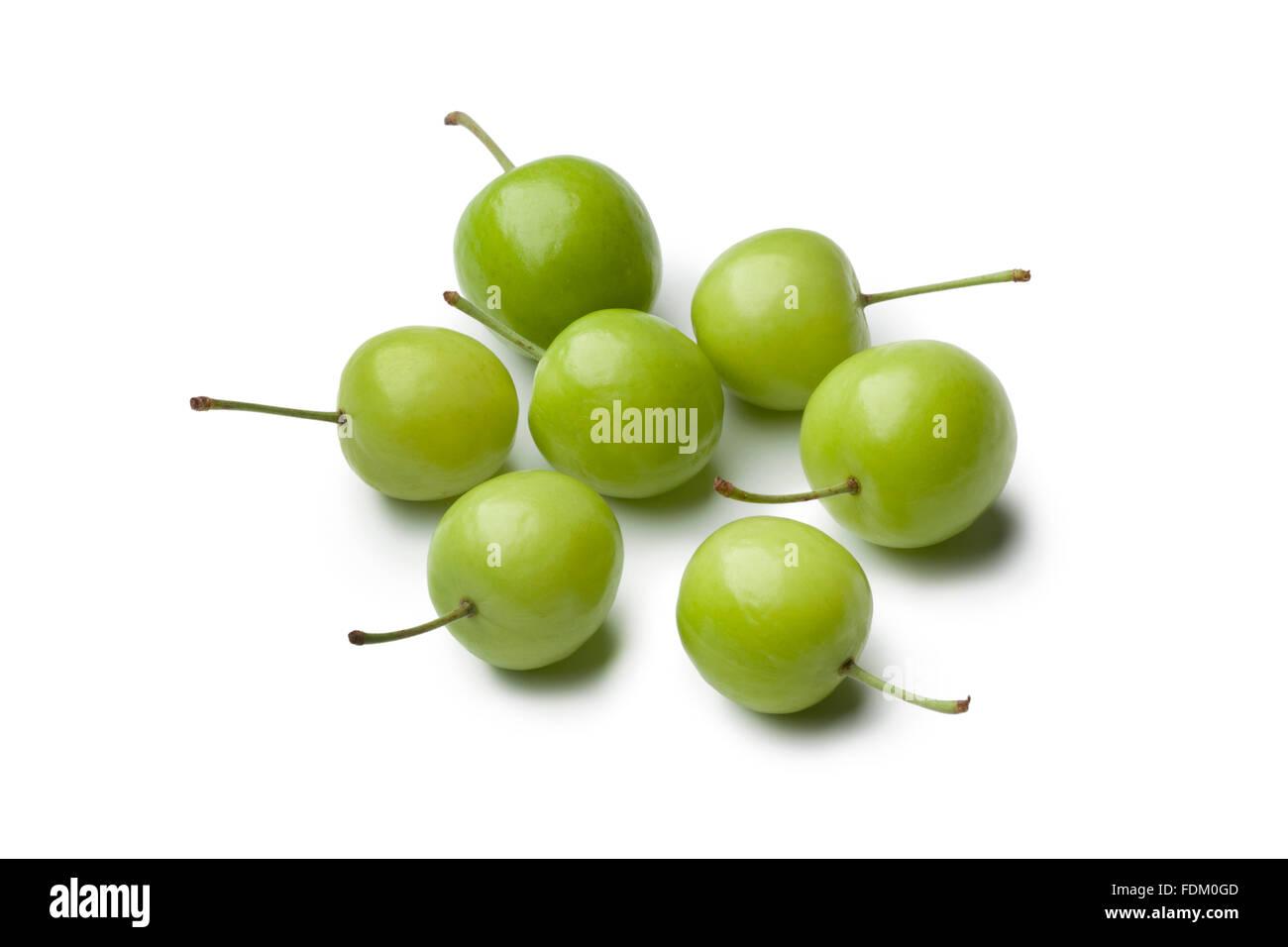 Fresh whole Can Erik plums on white background - Stock Image
