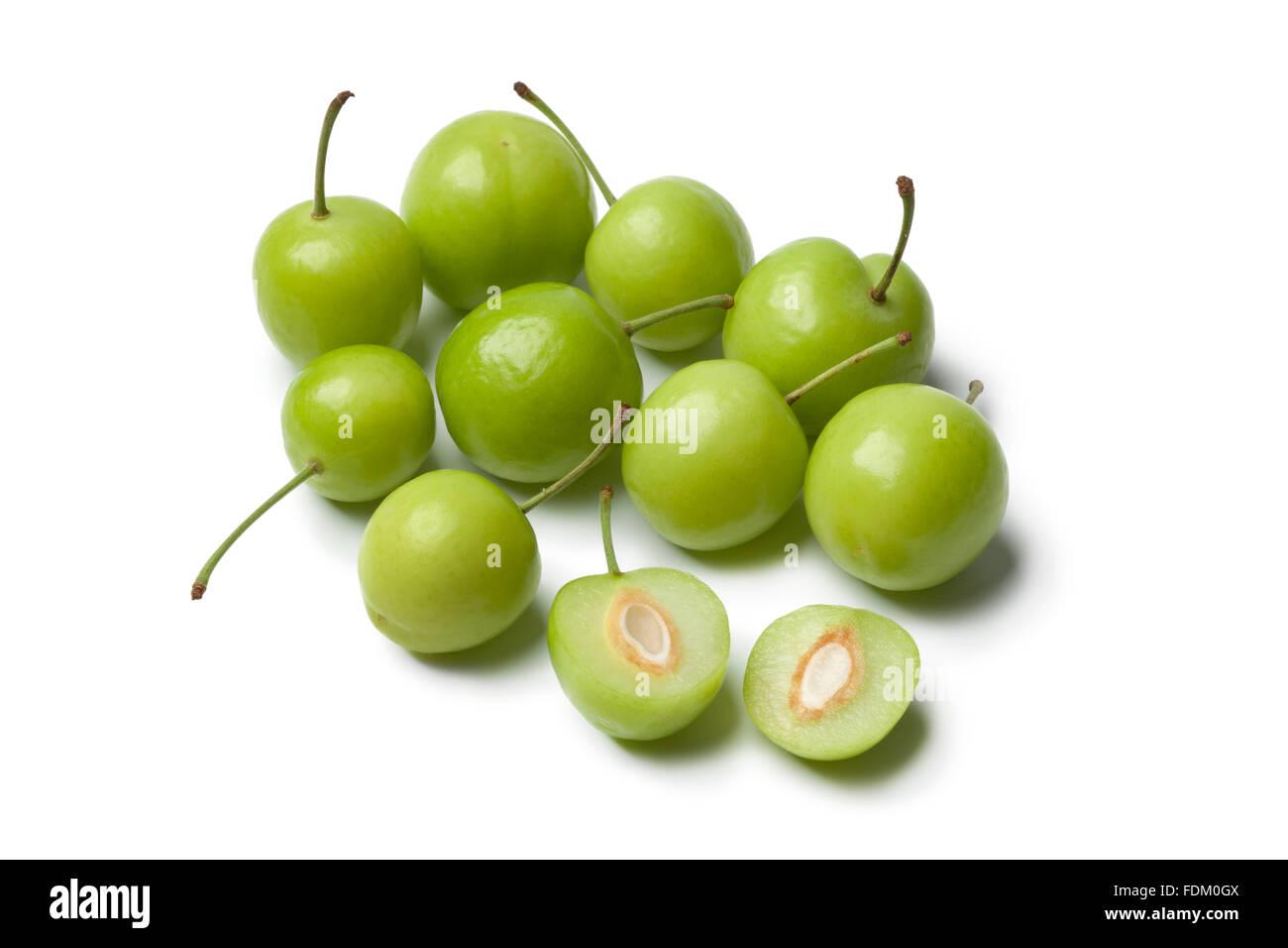 Fresh Can Erik plums on white background - Stock Image